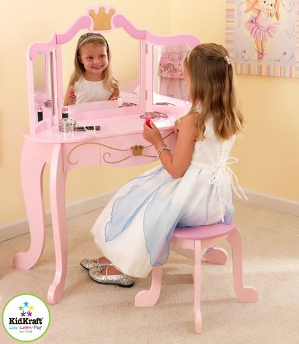 Giantex Tri Folding Mirror Black Wood Bathroom Vanity Set
